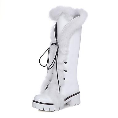 Mujer Zapatos Piel / PU Verano Tira en el Tobillo / Botas de Moda Botas Paseo Tacón Cuadrado Dedo redondo Con Cordón Blanco / Negro / Plata