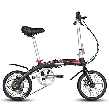 Bicicletas plegables Ciclismo 6 velocidad 14 pulgadas SHIMANO RS-35 Doble Disco de Freno Fijo Doblez Doblez Aleación de aluminio