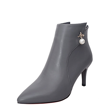 Dame Støvler Komfort Trendy støvler PU Vinter Avslappet Formell Komfort Trendy støvler Perle Stiletthæl Svart Grå Rød 5 - 7 cm