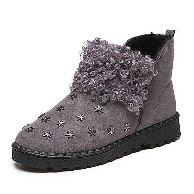 Dame-PU-Lav hæl-Komfort-Støvler-Fritid-Svart Grå Grønn