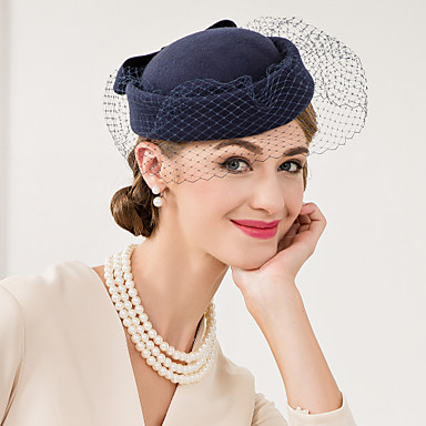 voordelige Hoeden-Wol / Net Kentucky Derby Hat / fascinators / hatut met Bloemen 1pc Bruiloft / Speciale gelegenheden  / Causaal Helm