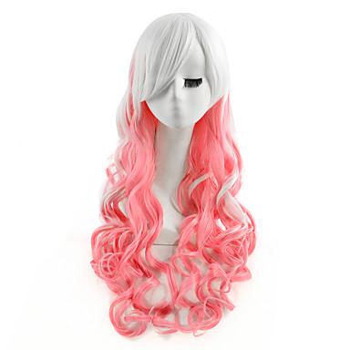 Synteettiset hiukset Peruukit Runsaat laineet Suojuksettomat Luonnollinen peruukki Vaaleanpunainen