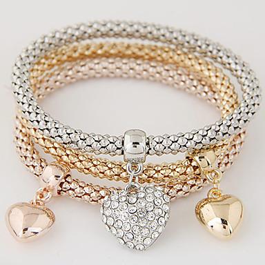 9574ab830 Women's Layered Stack Stacking Stackable Charm Bracelet Bracelet Bangles  Rhinestone Imitation Diamond Heart Love Ladies Luxury European Simple Style  Fashion ...