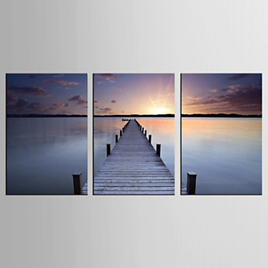 Canvas Set Maisema / Leisure Moderni / Realismi,3 paneeli Kanvas Pystysuora Tulosta Art Wall Decor For Kodinsisustus