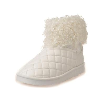 Dame Støvler Komfort Trendy støvler PU Vinter Avslappet Komfort Trendy støvler Flat hæl Hvit Svart Rød Rosa Burgunder Flat