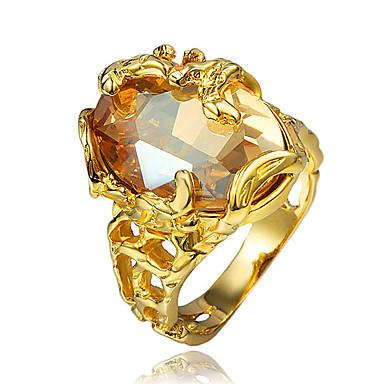 Naisten Cubic Zirkonia Sormus - 18K Kultapäällystetty, Gold Plated Suuri 6 / 7 / 8 Kulta Käyttötarkoitus Häät / Party / Päivittäin