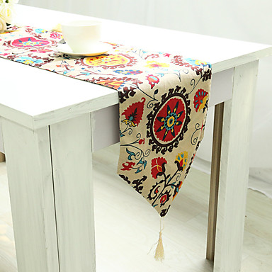 長方形 フラワー パターン柄 刺しゅう テーブルランナー , リネン/コットン混 材料 ホテルのダイニングテーブル 表Dceoration