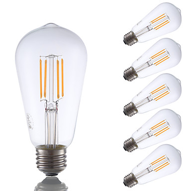 E26 LED-glødepærer ST19 4 leds COB Mulighet for demping Dekorativ Varm hvit 325lm 2700K AC 110-130V