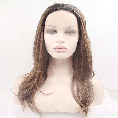 Syntetisk blonder foran parykker Naturlige bølger Blond Syntetisk hår Mørke røtter / Naturlig hårlinje Blond Parykk Dame Lang / Veldig lang Blonde Forside