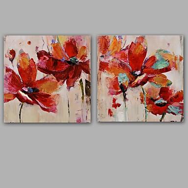 Håndmalte Abstrakt Blomstret/Botanisk Klassisk Moderne Lerret Hang malte oljemaleri Hjem Dekor To Paneler