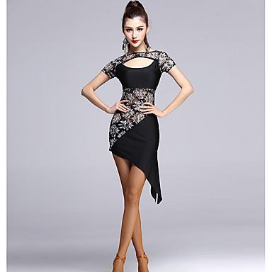 ラテンダンス ワンピース 女性用 ダンスパフォーマンス スパンデックス チュール スプライシング 1個 半袖 ハイウエスト ドレス