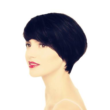 luonnollinen suora 4-6inch kone teki mikään pitsi Brasilian neitsyt hiukset lyhyet hiukset peruukit musta nainen