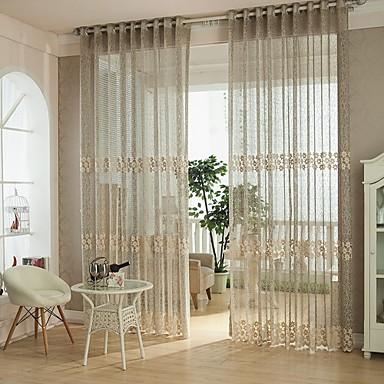 Anéis Um Painel Tratamento janela Europeu, Oco Quarto Poliéster Material Sheer Curtains Shades Decoração para casa