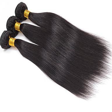 Cabelo Peruviano Liso Cabelo Virgem Cabelo Humano Ondulado 3 pacotes 8-30polegada Tramas de cabelo humano Preto Natural / Reto