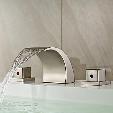 Moderni Kolmiosainen Vesiputous Keraaminen venttiili Kaksi kahvaa kolme reikää Harjattu nikkeli, Kylpyhuone Sink hana