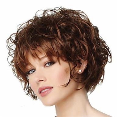 Synthetische Perücken Locken Stil Pixie-Schnitt Kappenlos Perücke Braun Braun Synthetische Haare Damen Hitze Resistent Braun Perücke Kurz Natürliche Perücke