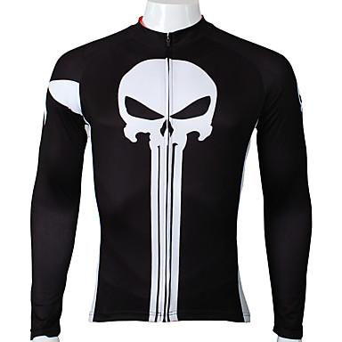 ILPALADINO Homens Manga Longa Camisa para Ciclismo - Preto Moto Camisa / Roupas Para Esporte, Secagem Rápida, Resistente Raios