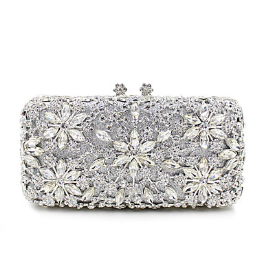79 99 Women S Crystal Rhinestone Evening Bag Bags Metal Fl Print Gold Black Silver Wedding
