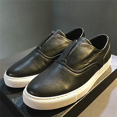 Mokkasiinit-Tasapohja-Miehet-Nahka-Valkoinen Musta-Rento-Comfort