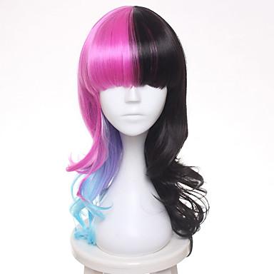 Syntetiske parykker / Kostymeparykker Naturlige bølger Syntetisk hår Svart Parykk Dame Medium Lengde Lokkløs Svart