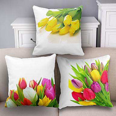 3 stk Bomull/Lin Putevar Putecover, Blomstret Dekorativ Moderne / Nutidig