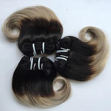 4 paquetes Cabello Brasileño Ondulado Grande Cabello Virgen Ombre 8 pulgada Cabello humano teje Gran venta Extensiones de cabello humano