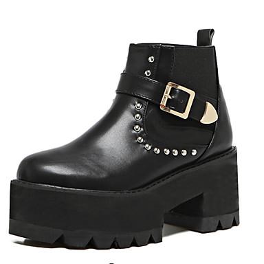 レディース 靴 PUレザー 冬 コンバットブーツ ブーツ チャンキーヒール ラウンドトウ リベット 用途 カジュアル ブラック