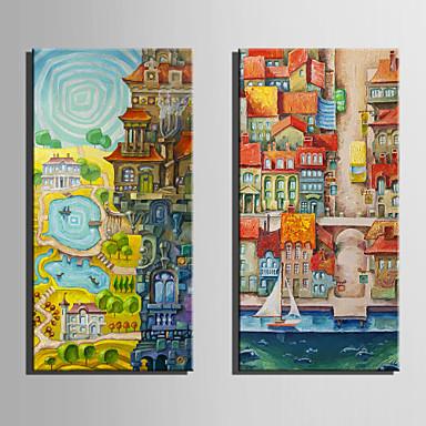 風景 欧風,2枚 キャンバス 縦式 プリント 壁の装飾 For ホームデコレーション