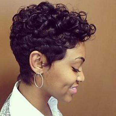 זול ללא מכסה-שיער ללא שיער שיער אנושי גלי / גלי טבעי פיקסי קאט / עם פוני פאה אפרו-אמריקאית / לנשים שחורות קצר פאה בגדי ריקוד נשים