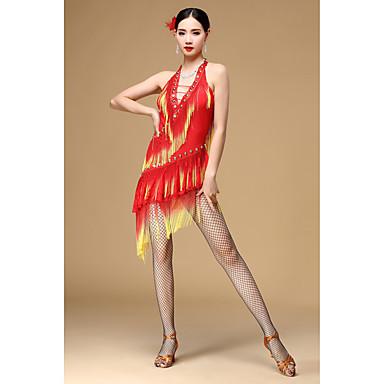 ラテンダンス ドレス 女性用 性能 ポリエステル タッセル ノースリーブ ハイウエスト ドレス