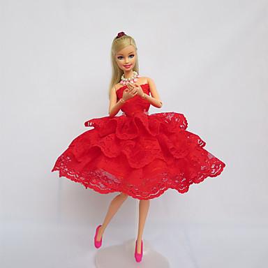 Festa / Noite Vestidos Para Boneca Barbie Renda / Cetim Vestido Para Menina de Boneca de Brinquedo
