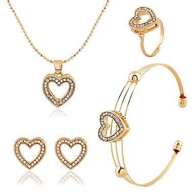女性用 ジュエリーセット - イミテーションダイヤモンド ハート, 幸福 含める ゴールド 用途 結婚式 / パーティー / 日常 / リング