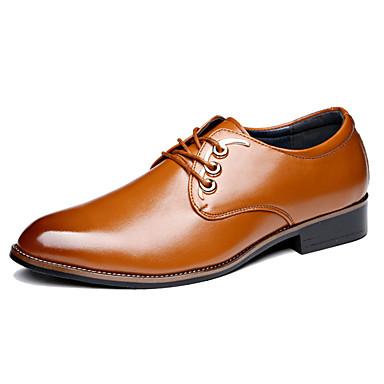 メンズ 靴 PUレザー 秋 冬 コンフォートシューズ オックスフォードシューズ 編み上げ 用途 カジュアル ブラック イエロー