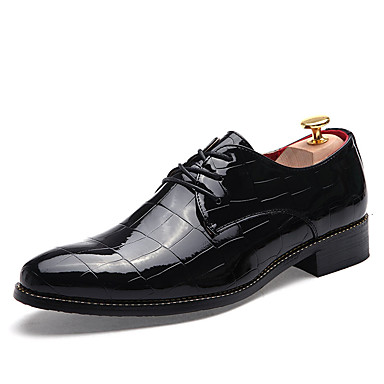 Miesten kengät PU Kevät Syksy Comfort Oxford-kengät Solmittavat varten Kausaliteetti Musta