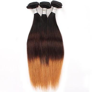baratos Extensões de Cabelo Natural-3 pacotes Cabelo Brasileiro Liso 10A Cabelo Virgem Âmbar Âmbar Tramas de cabelo humano Extensões de cabelo humano / Reto