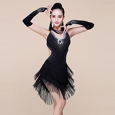 ラテンダンス ドレス 女性用 性能 スパンデックス / プロミックス ビーズ / タッセル ノースリーブ ナチュラルウエスト ドレス / ブレスレット