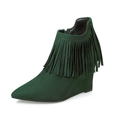 Dame-Semsket lær-Kilehæl-Komfort-Støvler-Formell-Svart Brun Grønn