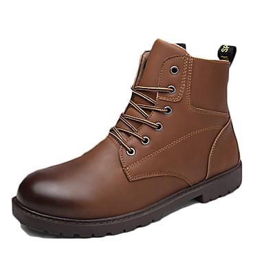 Miehet Bootsit Comfort PU Syksy Talvi Kausaliteetti Comfort Solmittavat Tasapohja Musta Kahvi Vaalean ruskea Tasapohja