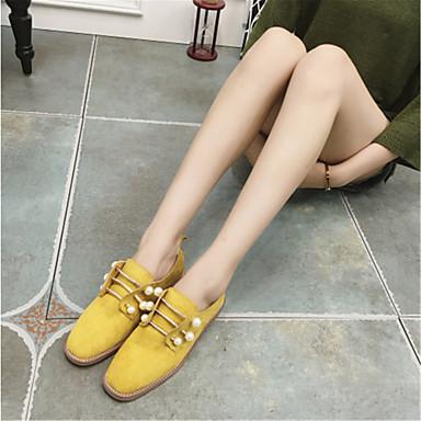 Dame-Semsket lær-Flat hæl-Komfort-一脚蹬鞋、懒人鞋-Fritid-Brun / Gul