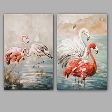 käsinmaalatut abstrakti / eläimet moderni / klassinen kaksi paneelia kangas öljymaalaus