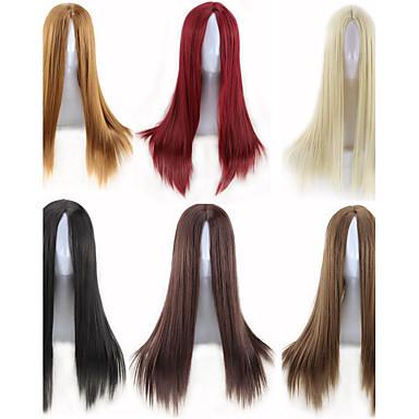 人工毛ウィッグ ストレート 密度 キャップレス 女性用 カーニバルウィッグ ハロウィンウィッグ ナチュラルウィッグ 合成