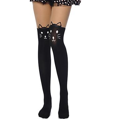 Thigh High Socks Socks / Long Stockings Sweet Lolita Dress Lolita See Through Women's Black Lolita Accessories Print Cat Stockings Velvet