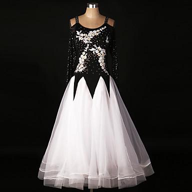 볼륨 댄스 드레스 성능 스판덱스 / 오간자 아플리케 / 드레이핑 / 레이스 긴 소매 높음 드레스