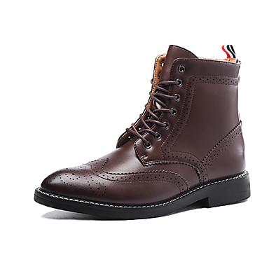 Miehet Bootsit Comfort PU Syksy Talvi Kausaliteetti Comfort Solmittavat Tasapohja Musta Tumman ruskea Tasapohja