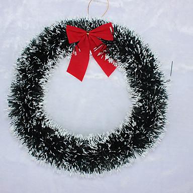 1個ホワイト/グリーンエッジがクリスマス装飾のアカネホテルショッピングウィンドウレイアウトクリスマスの花輪弓