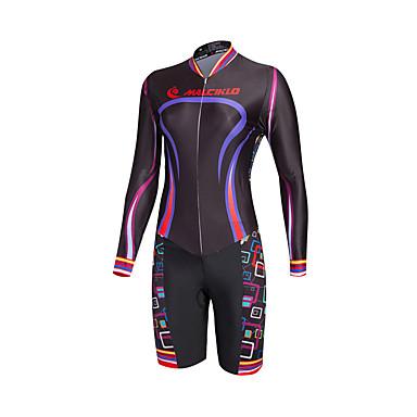 Malciklo Mulheres Manga Longa Macacão para Triathlon - Preto camuflagem / Formais Moto Secagem Rápida, Respirável Coolmax® / Lycra