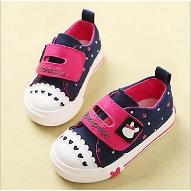 女の子 フラット 赤ちゃん用靴 キャンバス カジュアル ダークブルー ピンク 1インチ以下