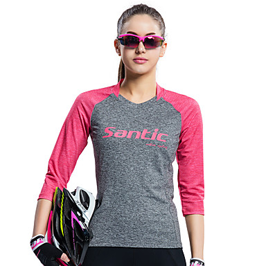 SANTIC חולצת ג'רסי לרכיבה בגדי ריקוד נשים אופניים ג'רזי טי שירט צמרות בגדי רכיבת אופניים עמיד אולטרה סגול נושם רך תומך זיעה עמיד UV רטרו