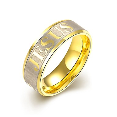 Herre Rustfritt Stål / Gullbelagt Forlovelsesring / Ring - Personalisert / initial Smykker / Europeisk Gylden Ringe Til Bryllup / Fest /