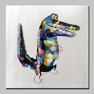 手描きの現代抽象的なワニの動物油絵キャンバスの壁アートの絵ハングする準備ができて